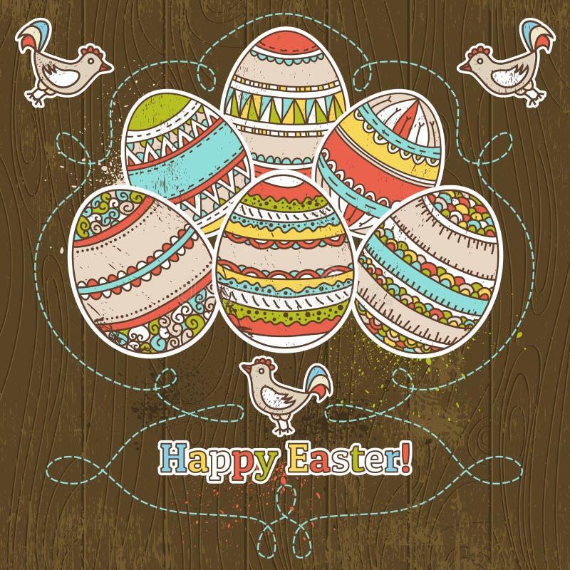 Пасхальные яйца на предпосылке grunge деревянной иллюстрация вектора