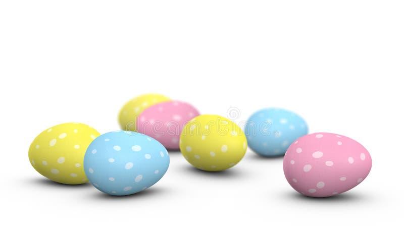 Пасхальные яйца при пятна покрашенные на их раковинах иллюстрация вектора