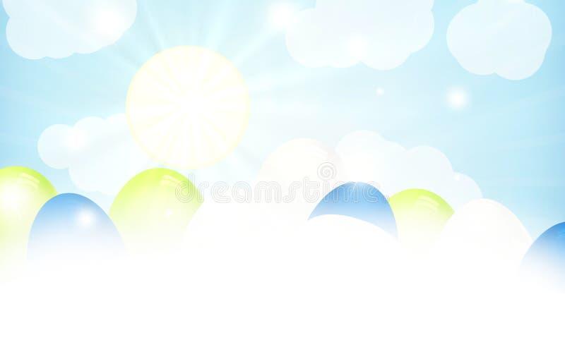 Пасхальные яйца спрятанные за облаком стоковые изображения rf