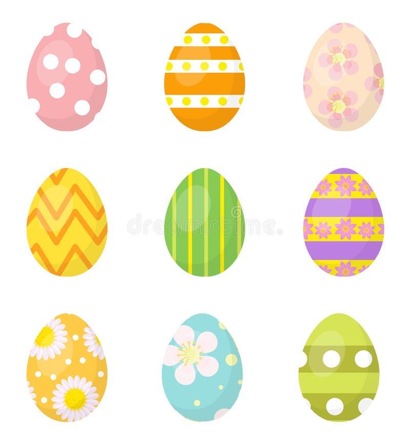 Пасхальные яйца установили значков, элементов дизайна На белой предпосылке также вектор иллюстрации притяжки corel иллюстрация штока