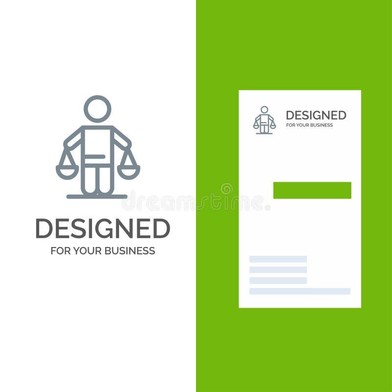 Патент, заключение, суд, суждение, дизайн логотипа закона серые и шаблон визитной карточки иллюстрация вектора