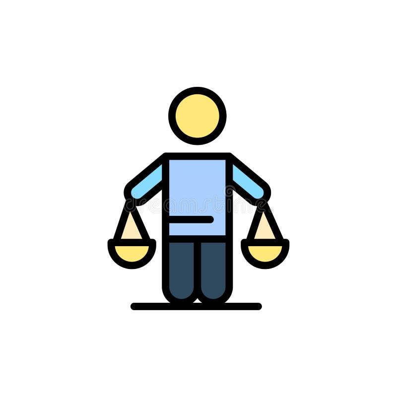 Патент, заключение, суд, суждение, значок цвета закона плоский Шаблон знамени значка вектора иллюстрация вектора