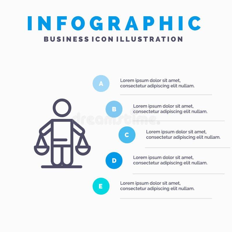 Патент, заключение, суд, суждение, линия значок закона с предпосылкой infographics представления 5 шагов иллюстрация вектора