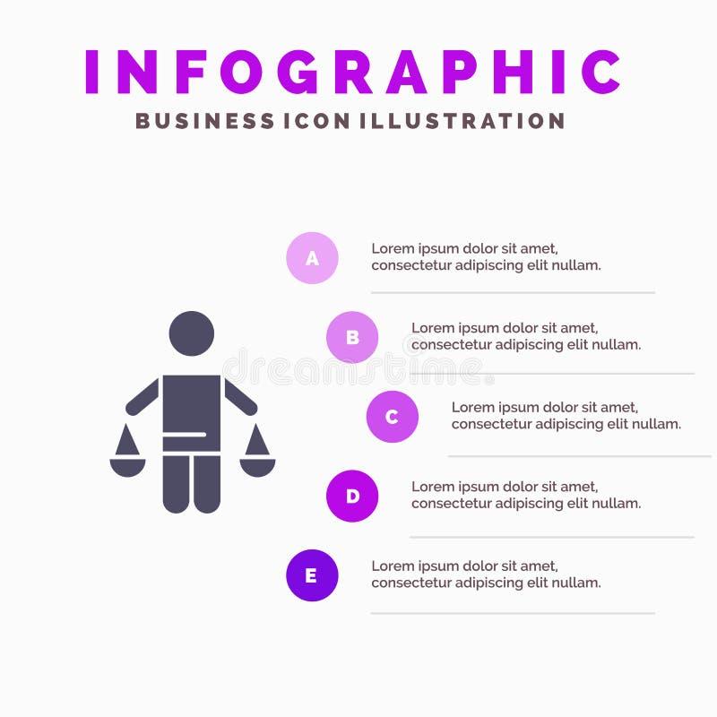 Патент, заключение, суд, суждение, предпосылка представления шагов Infographics 5 значка закона твердая бесплатная иллюстрация