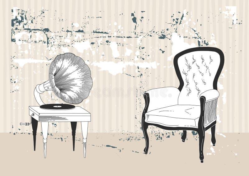 патефон кресла бесплатная иллюстрация