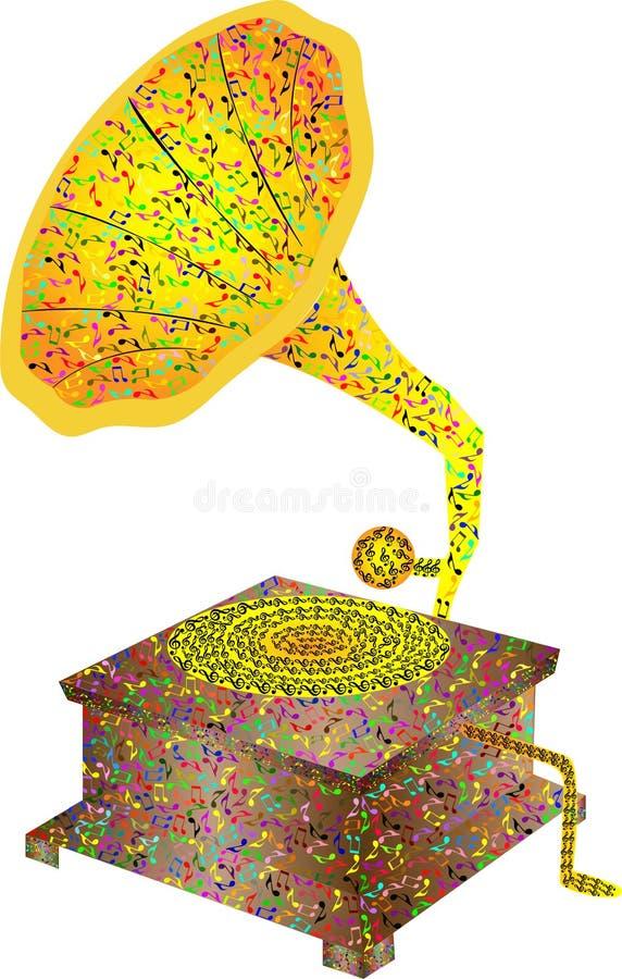 Патефон музыкального инструмента Иллюстрация патефона от музыкальных примечаний и дискантового ключа иллюстрация вектора