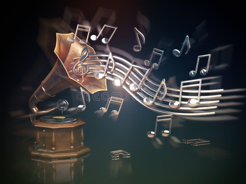 Патефон с золотыми примечаниями Предпосылка искусства музыки иллюстрация штока