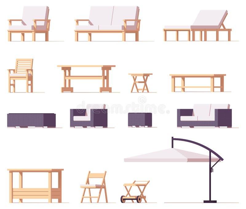 Патио вектора и внешний комплект мебели бесплатная иллюстрация