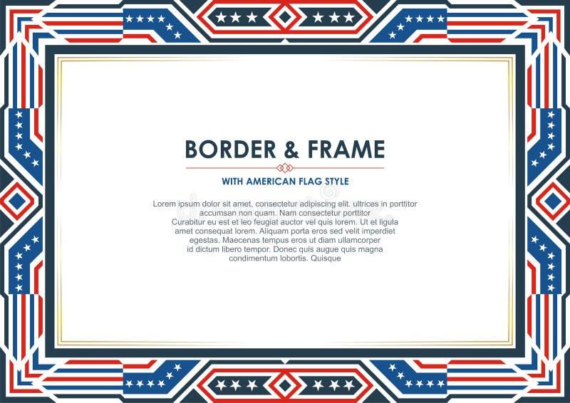 Патриотическая граница рамки, с стилем американского флага и дизайном цвета бесплатная иллюстрация