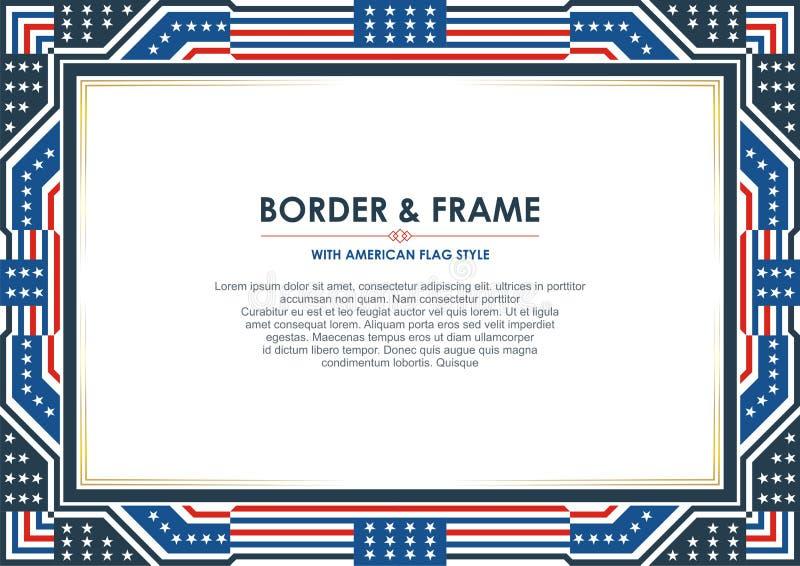 Патриотическая граница рамки, с стилем американского флага и дизайном цвета иллюстрация штока