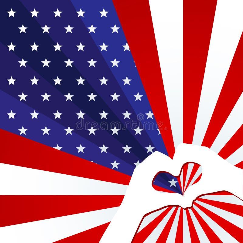 Патриотическая предпосылка американского флага со звездами и концепция нашивок лучей творческая на День независимости США и друго иллюстрация вектора