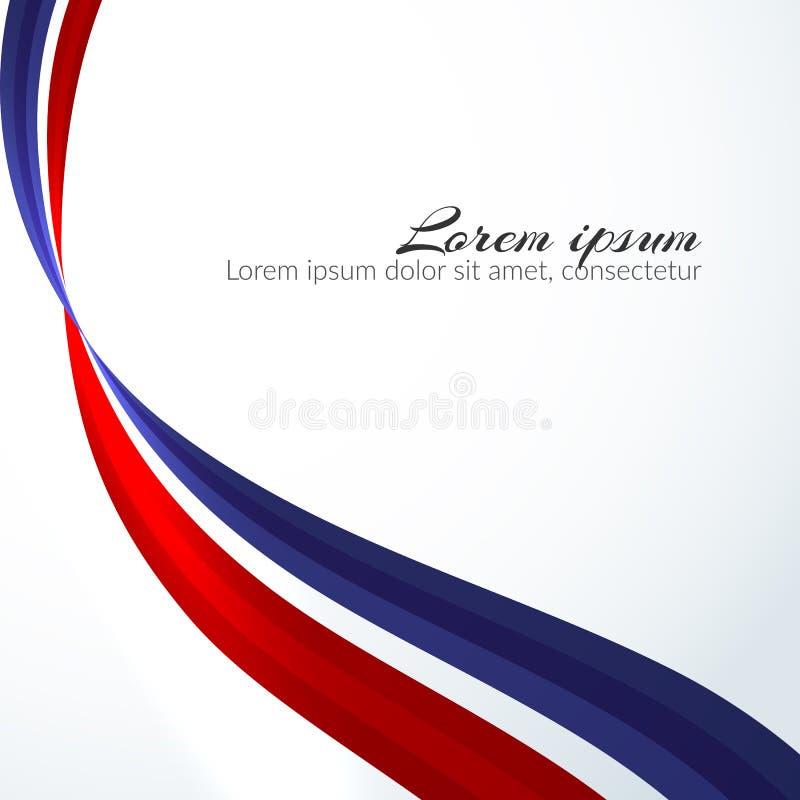 Патриотическая предпосылка цветов национального флага линий элемента России пропуская абстрактных волнистых для дизайна знамени ш иллюстрация вектора