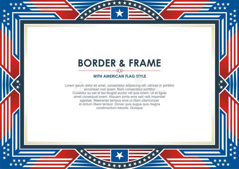 Патриотическая рамка, с стилем американского флага и дизайном цвета иллюстрация вектора