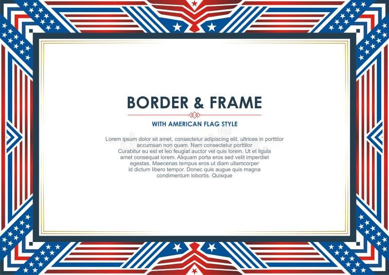 Патриотическая рамка, с стилем американского флага и дизайном цвета иллюстрация штока