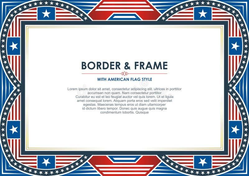 Патриотическая рамка, с стилем американского флага и дизайном цвета бесплатная иллюстрация