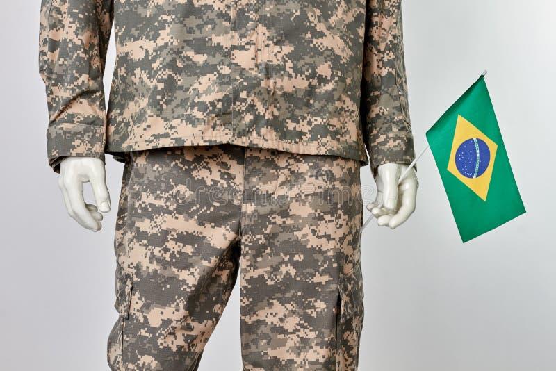 Патриотическая brazillian концепция солдата стоковое фото rf