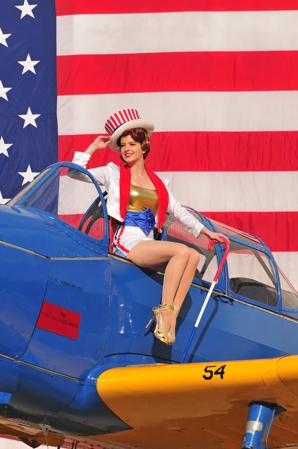 Патриотический американский штырь вверх по девушке стоковое фото