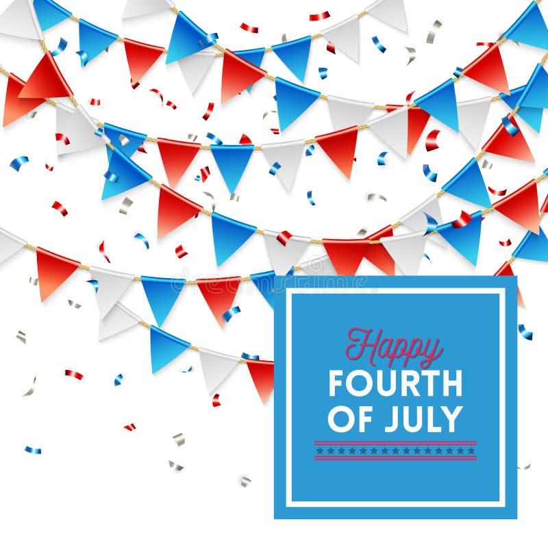 Патриотическое счастливое четвертый из дизайна карты в июле бесплатная иллюстрация
