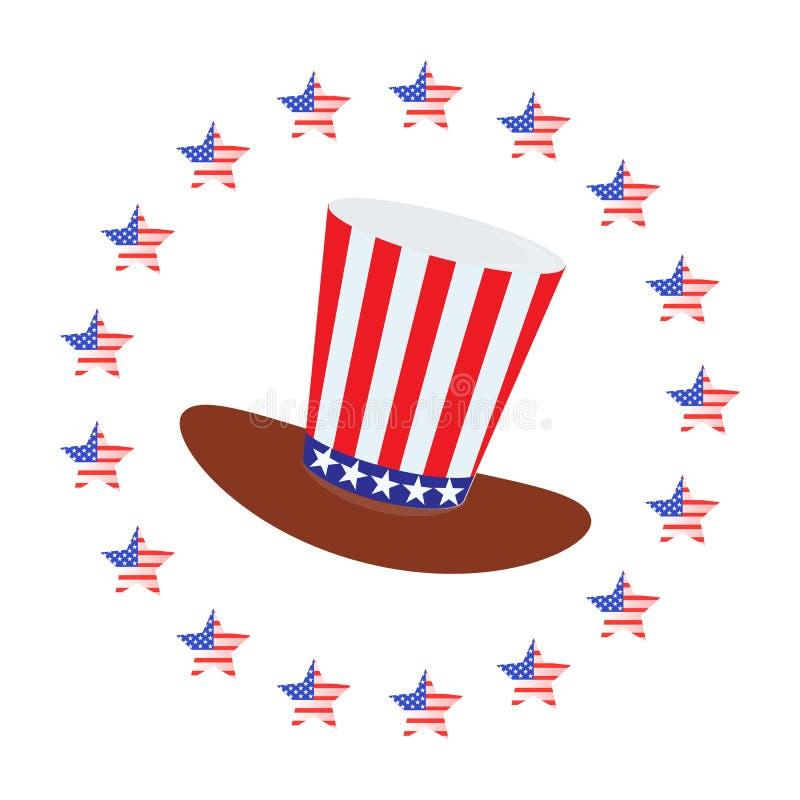 Патриот в шляпе и с флагом четвертое -го июль иллюстрация штока