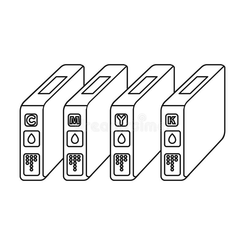 Патроны чернил в стиле плана изолированные на белой предпосылке Иллюстрация вектора запаса символа оформления иллюстрация вектора