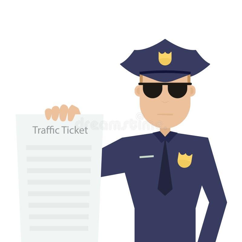 Патрульный офицер дороги держит транспортный билет бесплатная иллюстрация