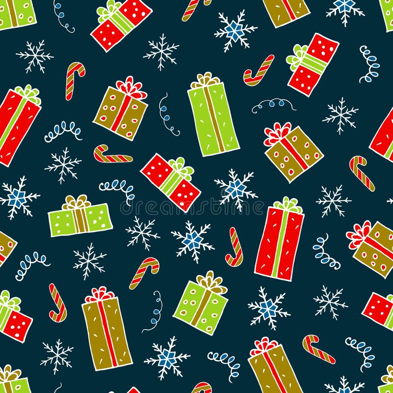 Christmas gifts pattern hand drawing vector illustration