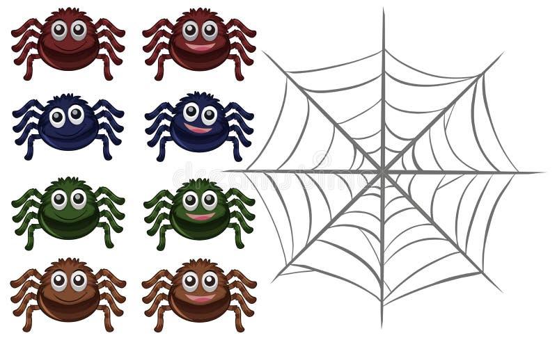 Пауки и сеть на белой предпосылке иллюстрация вектора