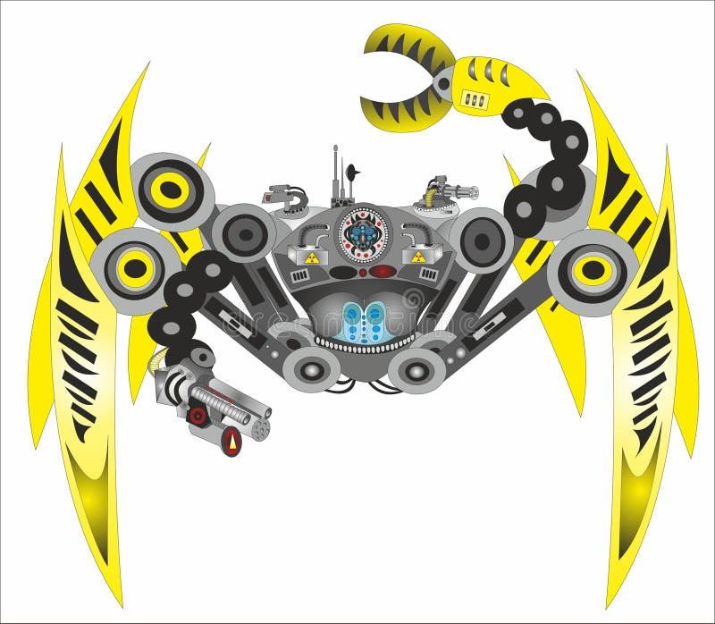 Паук робота киборга научной фантастики иллюстрация вектора