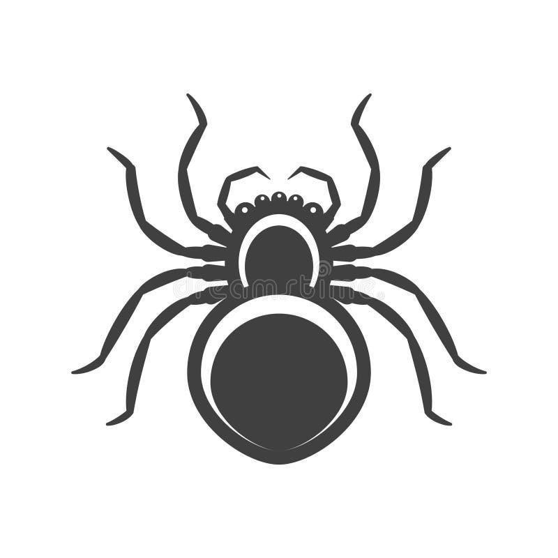 Паук черноты значка Вектор на белой предпосылке бесплатная иллюстрация