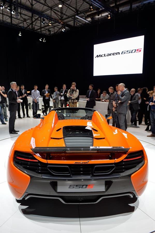Паук McLaren 650S на мотор-шоу Женевы стоковые фотографии rf