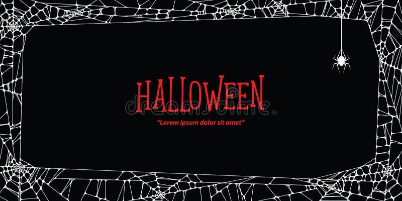 Паутина и паук горизонтальной рамки хеллоуина белая на задней части черноты бесплатная иллюстрация