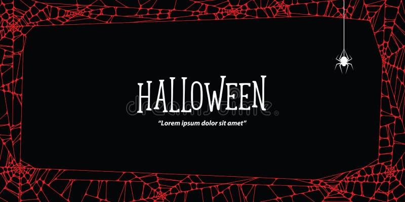 Паутина и паук горизонтальной рамки хеллоуина красная на черном backgr бесплатная иллюстрация