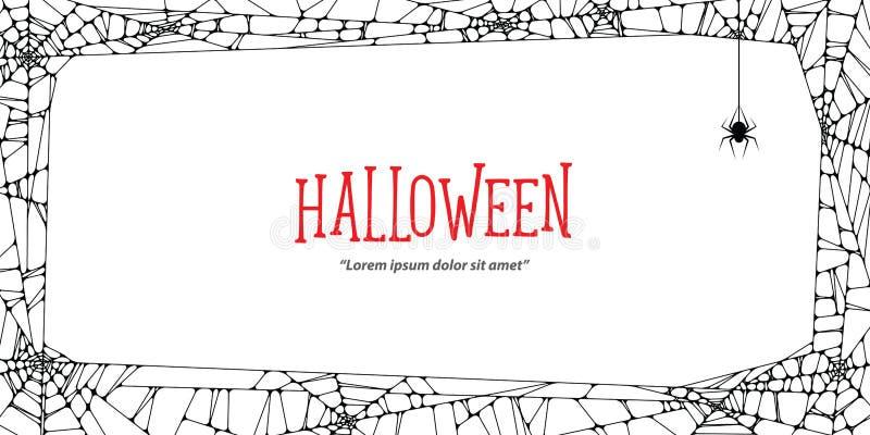 Паутина и паук черноты рамки хеллоуина горизонтальные на задней части белизны иллюстрация штока