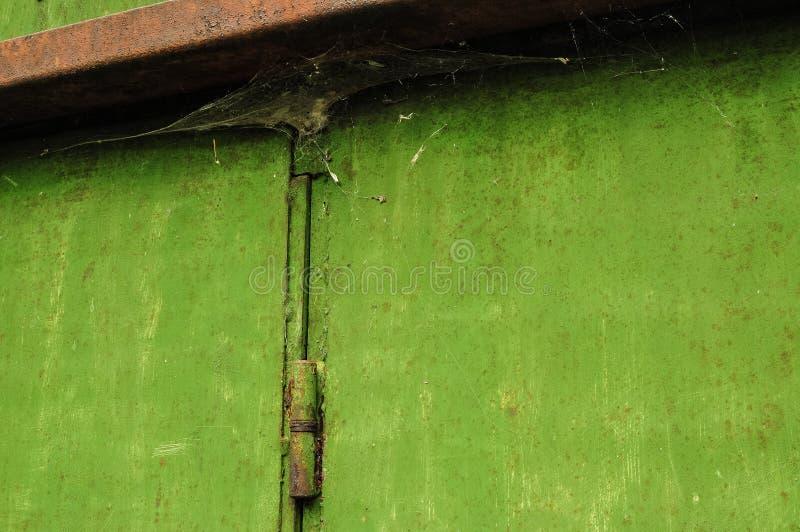 Паутина на зеленом гараже стоковые фотографии rf