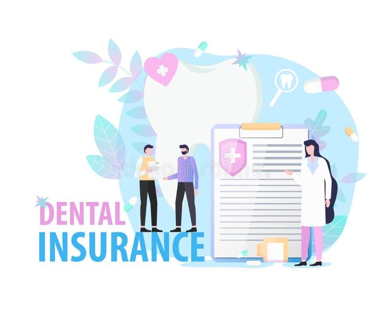 Пациент дантиста женщины документа зубной страховки иллюстрация вектора