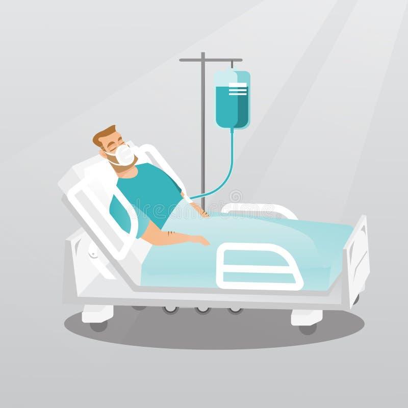 Пациент лежа в больничной койке с кислородным изолирующим противогазом иллюстрация вектора