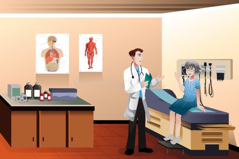 Пациент доктора в клинике иллюстрация вектора