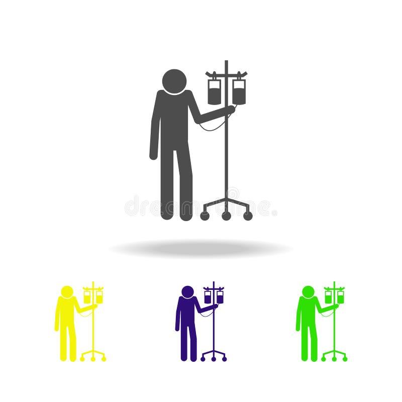 Пациент с значком капилляра Элементы пациентов в значке больницы Наградной качественный графический дизайн Знаки, символы c плана иллюстрация вектора