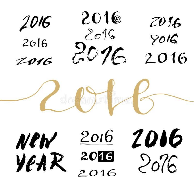 Пачка знака 2016 Новых Годов рукописная Каллиграфические помечая буквами номера бесплатная иллюстрация