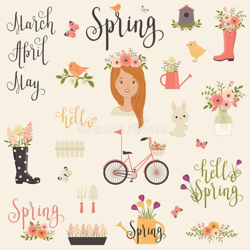 Пачка/комплект значков весны бесплатная иллюстрация