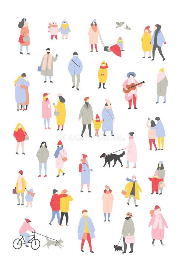 Пачка крошечных людей одетых в outerwear идя и осуществляя мероприятия на свежем воздухе на Рожденственской ночи женщины неба люд бесплатная иллюстрация