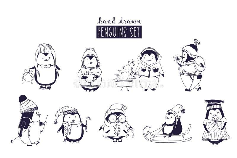 Пачка пингвинов ребёнка и девушки нося одежду и шляпы зимы нарисованные в monochrome цветах Комплект милого шаржа иллюстрация штока