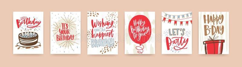 Пачка поздравительной открытки дня рождения, открытки или шаблонов приглашения партии украшенных с рукописными b-дневными желания иллюстрация штока