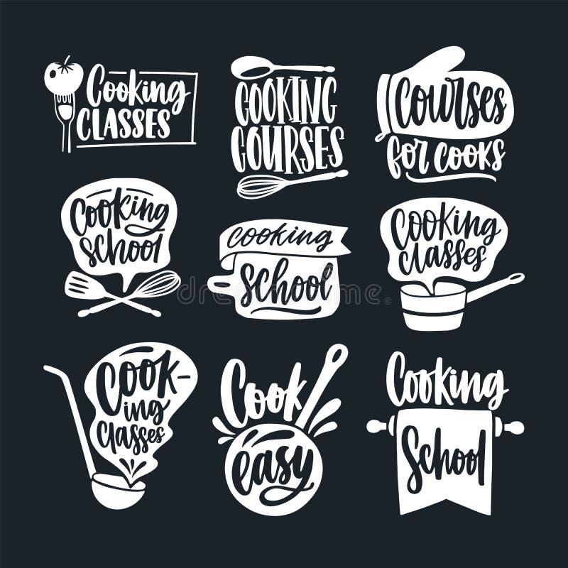 Пачка помечать буквами рукописная с каллиграфическим сценарием и украшенная при cookware изолированный на черной предпосылке Комп бесплатная иллюстрация