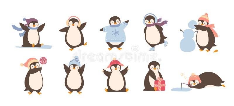 Пачка прелестных пингвинов нося одежду и шляпы зимы изолированные на белой предпосылке Комплект смешной арктики шаржа иллюстрация вектора
