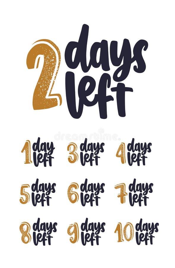 Пачка рукописной литерности с количеством дней остается для комплекса предпусковых операций Установите фраз написанных с cursive бесплатная иллюстрация