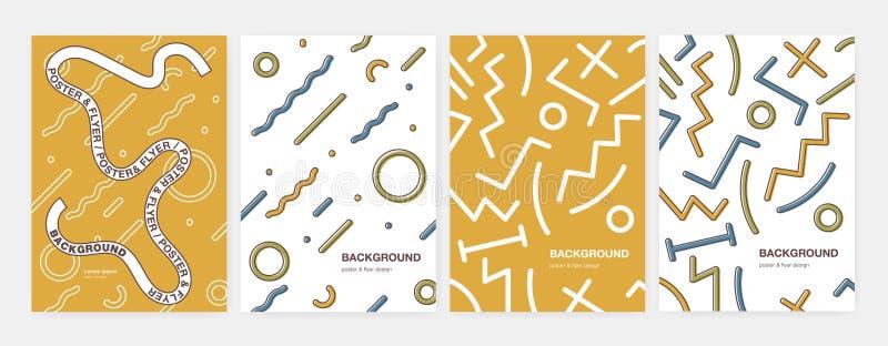 Пачка современных вертикальных шаблонов плаката, рогульки или карточки с абстрактными геометрическими формами, изогнула и линиями иллюстрация вектора