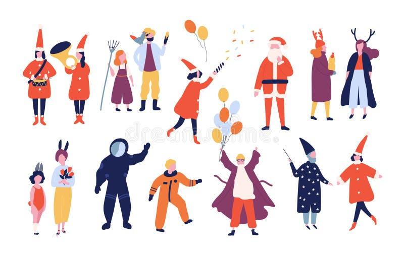 Пачка счастливых людей и женщин одетых в различных праздничных костюмах для masquerade праздника, масленицы праздника, рождества бесплатная иллюстрация