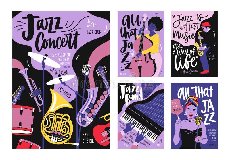 Пачка шаблонов плаката, приглашения и рогульки для фестиваля джазовой музыки, концерта, партии с музыкальными инструментами иллюстрация вектора