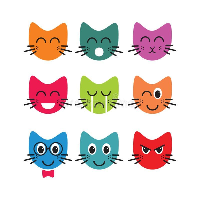 Пачки смайликов кота стороны иллюстрация вектора